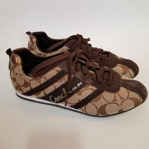Coach Henrietta 6.5 Shoes Sneakers Lace Up Brown